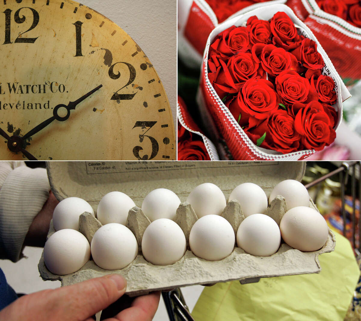 We totally understand if you have 12 on the brain today, what with it marking that unique 12/12/12 on the calendar. But there's something special about that number that goes beyond our day planners, much less our wall clocks, rose bouquets or egg cartons.Words by René A. Guzman, rguzman@express-news.net; Twitter: @reneguzPhotos, clockwise from top left: Clock in the guest room of Jean and Rob Blount. Helen L. Montoya, San Antonio Express-News; Roses wait to be placed in a Valentine's Day arrangement at Village Flowery in Houston. Michael Paulsen, Houston Chronicle; A grocery clerk checks a dozen eggs at JJ&F Market in Palo Alto, Calif. Paul Sakuma, Associated Press.