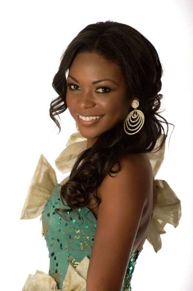 Miss Gabon 2012, Channa Divouvi, poses in her evening gown.