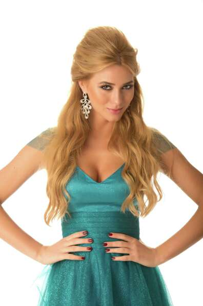 Miss Poland 2012, Marcelina Zawadzka, poses in her evening gown.