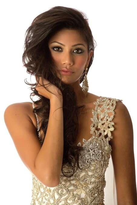 Miss Sri Lanka 2012, Sabrina Herft, poses in her evening gown. Photo: Matt Brown, Miss Universe Organization / Miss Universe Organization