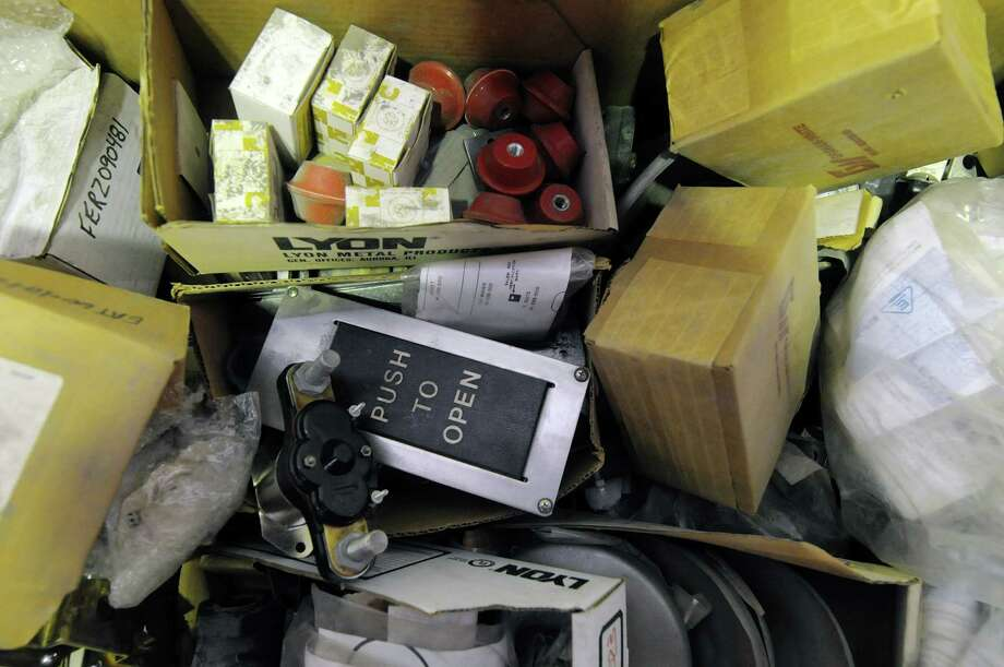 Train car parts are seen in a large box during an auction of State-owned surplus train parts at the Rotterdam Industrial Park on Tuesday, Dec. 11, 2012 in Rotterdam, NY.  (Paul Buckowski / Times Union) Photo: Paul Buckowski