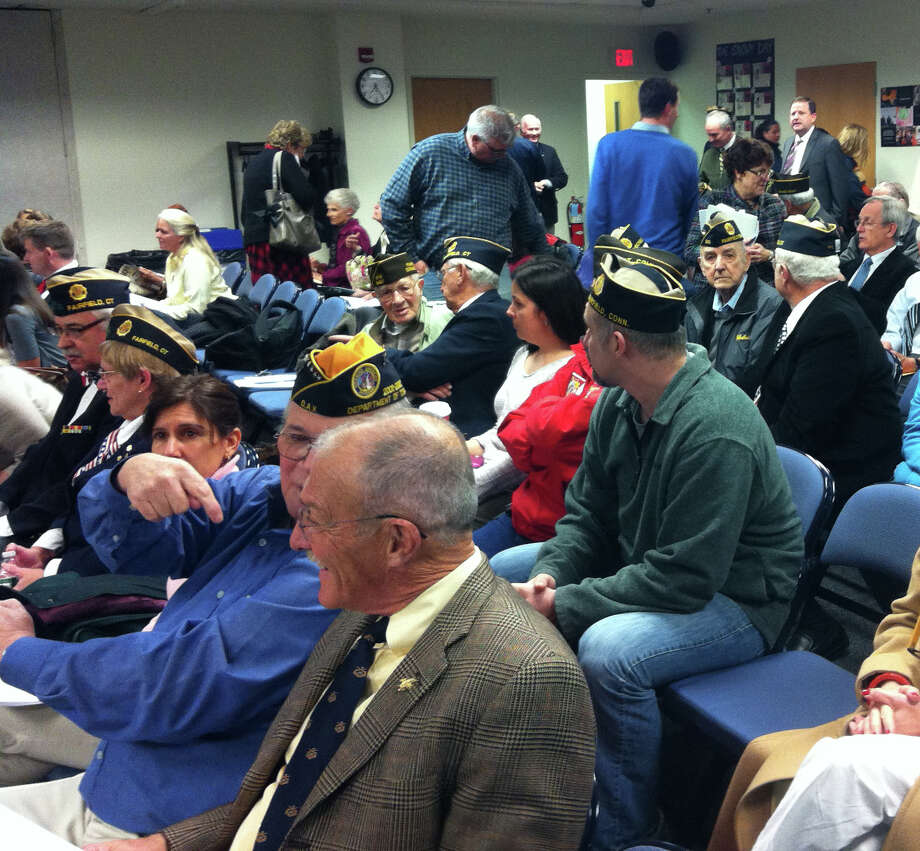 Many local veterans came to Tuesday night's Board of Education meeting to advocate for closing school on Veterans' Day. Photo: Michael C. Juliano/Staff Photo