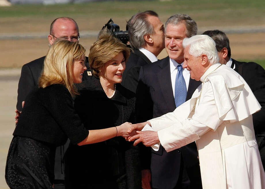 Jenna Bush, daughter of President Bush greets Pope Benedict XVI with first lady Laura Bush as he arrives at Andrews Air Force Base, Md., Tuesday, April 15, 2008. Photo: Gerald Herbert, AP / AP