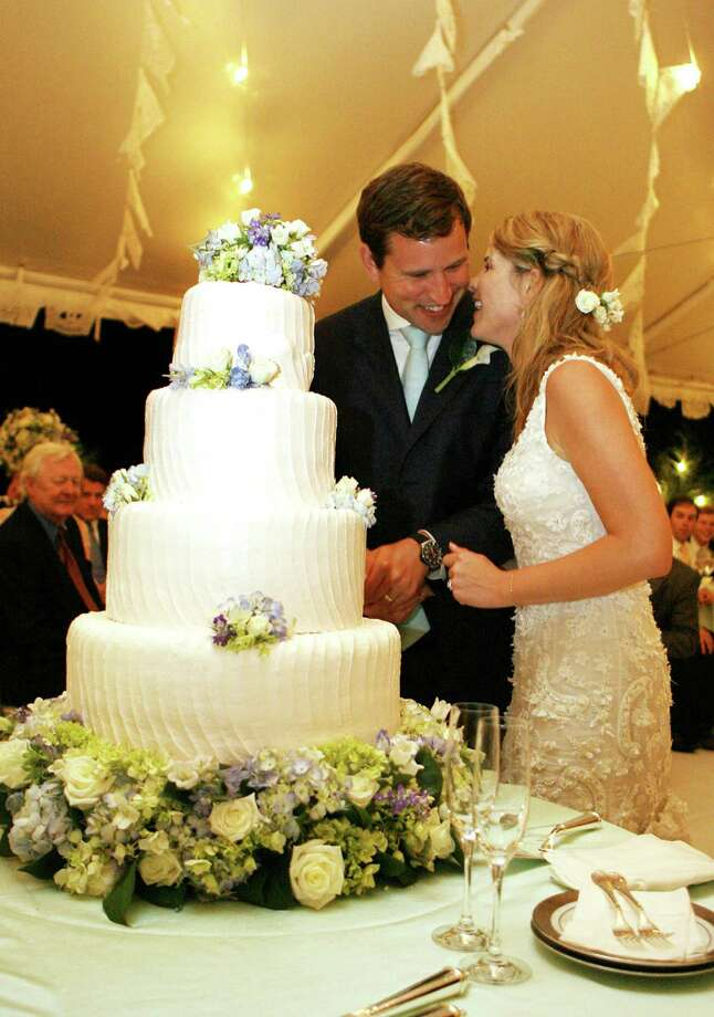 FILE - DECEMBER 11: According to reports, Jenna Bush Hager, daughter of former U.S. President George W. Bush, is pregnant with her first child. CRAWFORD, TX - MAY 10:  In this handout image provided by the White House, Henry and Jenna Hager pause as they cut their wedding cake during a reception in their honor following the ceremony at Prairie Chapel Ranch May 10, 2008 near Crawford, Texas. Photo: The White House, Getty Images / 2008 The White House