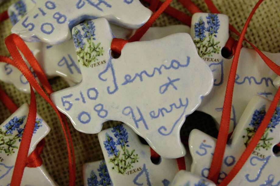 Souvenirs celebrating the marriage of Jenna Bush and Henry Hager are for sale at a gift shop, Saturday, May 10, 2008, in Crawford, Texas. Photo: Matt Slocum, AP / AP