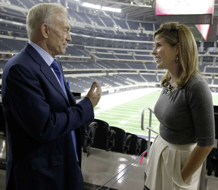 "Former ""first daughter"" Jenna Bush Hager, right, talks with Dallas Cowboys owner Jerry Jones before a live shot during a broadcast of the ""Today"" show at Cowboys Stadium Friday, Sept. 18, 2009, in Arlington, Texas. Hager made her debut as a correspondent for NBC's ""Today"" show on Friday. (AP Photo/The Dallas Morning News, David Woo) ** MANDATORY CREDIT, NO SALES, MAGS OUT, TV OUT, INTERNET OUT, AP MEMBERS ONLY ** Photo: David Woo, AP / The Dallas Morning News"