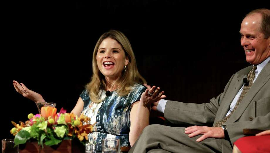 Jenna Bush Hager, left, talks about life in the White House as Steve Ford, right, laughs, during the Enduring Legacies of America's First Ladies conference Thursday, Nov. 15, 2012, in Austin, Texas. The children of three presidents discussed life in the White House as part of a conference on first ladies at the Lyndon B. Johnson Presidential Library. (AP Photo/David J. Phillip) Photo: David J. Phillip, Associated Press / AP