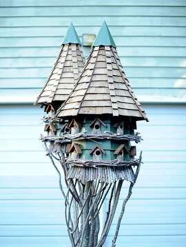 One of Freeland Tanner's double bird houses is pictured in Napa, Calif., on Saturday, Oct. 27, 2012.