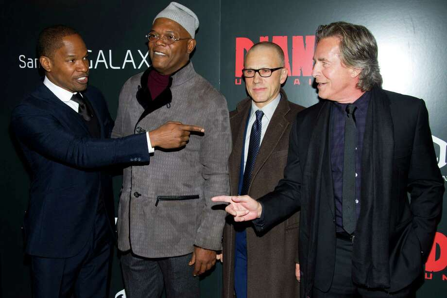 "Jamie Foxx, from left, Samuel Jackson, Christoph Waltz and Don Johnson attend the premiere of ""Django Unchained"" on Tuesday, Dec. 11, 2012 in New York. Photo: Charles Sykes, Charles Sykes/Invision/AP / Invision"
