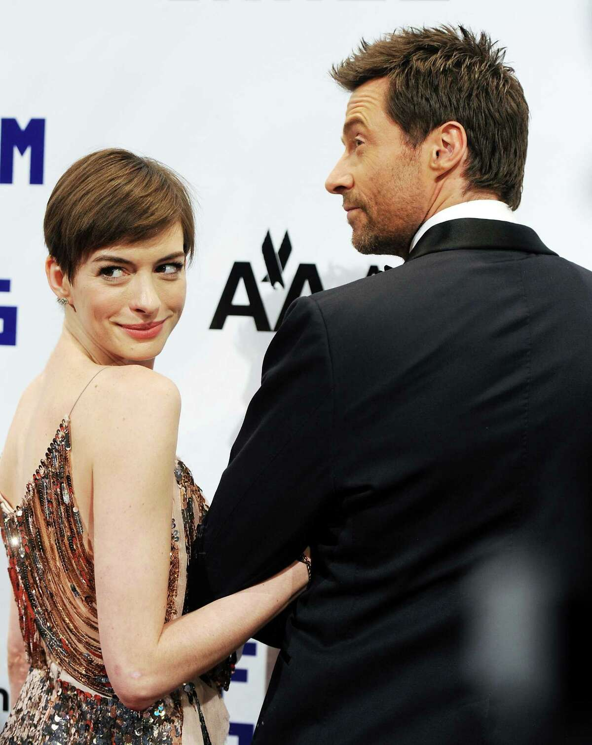 Actress Anne Hathaway, left, and honoree Hugh Jackman attend the Museum of the Moving Image Salute to Hugh Jackman at Cipriani Wall Street on Tuesday Dec. 11, 2012 in New York.