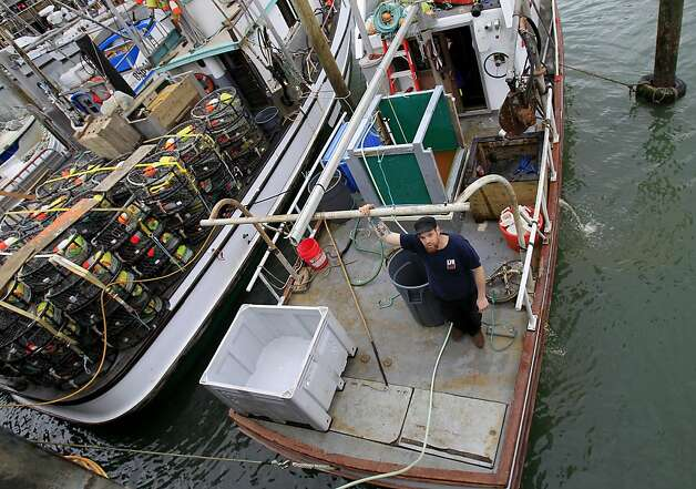 Crab fisherman Jeff Dean is waiting until Wednesday morning to retrieve his over 200 crab pots, but others are leaving Tuesday night. Crabbers will be returning to their pots tonight and fresh crab should arrive at Fisherman's Wharf Wednesday as a new deal was reached paying $3 a pound just in time for Christmas. Photo: Brant Ward, The Chronicle