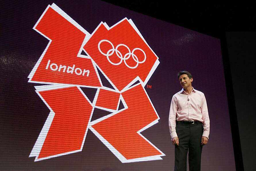 London 2012 Chairman Sebastian Coe stands with the London 2012 Olympic logo, London, Monday June 4,