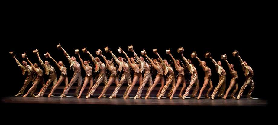"| The Company of A Chorus Line performs ""One"" (Photo by Phil Martin)"