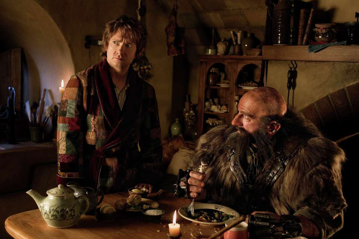 """(L-r) MARTIN FREEMAN as Bilbo Baggins and GRAHAM McTAVISH as Dwalin in the fantasy adventure """"THE HOBBIT: AN UNEXPECTED JOURNEY,"""" a production of New Line Cinema and Metro-Goldwyn-Mayer Pictures (MGM), released by Warner Bros. Pictures and MGM."""