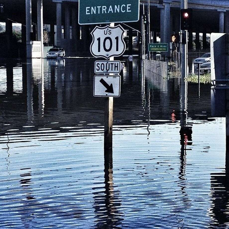A king tide floods streets in Mill Valley in 2012. Photo: Mike Kepka, The Chronicle