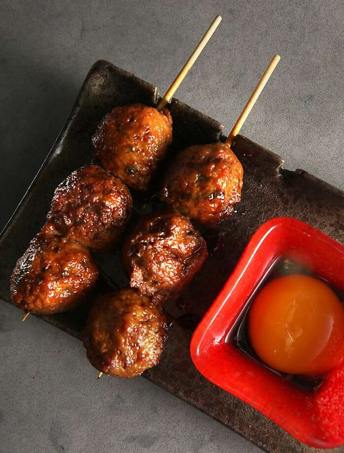 Tsukune--chicken meatball, egg yolk, homemade teriyaki--at Chotto, a new Japanese restaurant, in San Francisco, Calif., on Friday, February 4, 2011. Photo: Liz Hafalia, The Chronicle