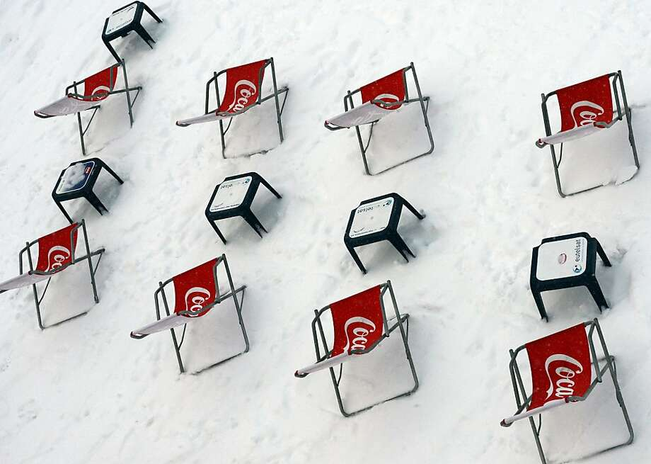 Ice-cold Coke chairs: There's no problem scoring an al-fresco seat at a restaurant in snow-dusted Val d'Isere, French Alps. Photo: Franck Fife, AFP/Getty Images