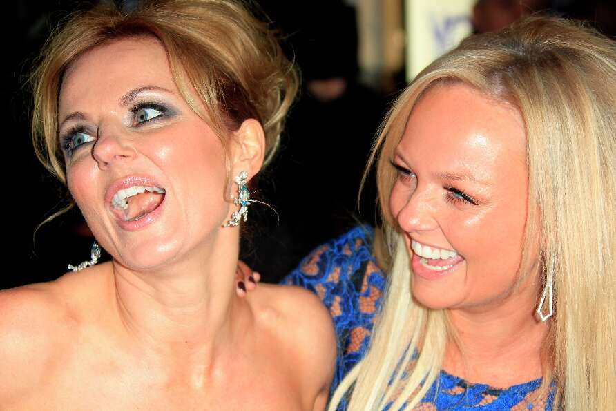 From left, Geri Halliwell, and Emma Bunton arrive for 'Viva Forever!' Press Night, a musical based o
