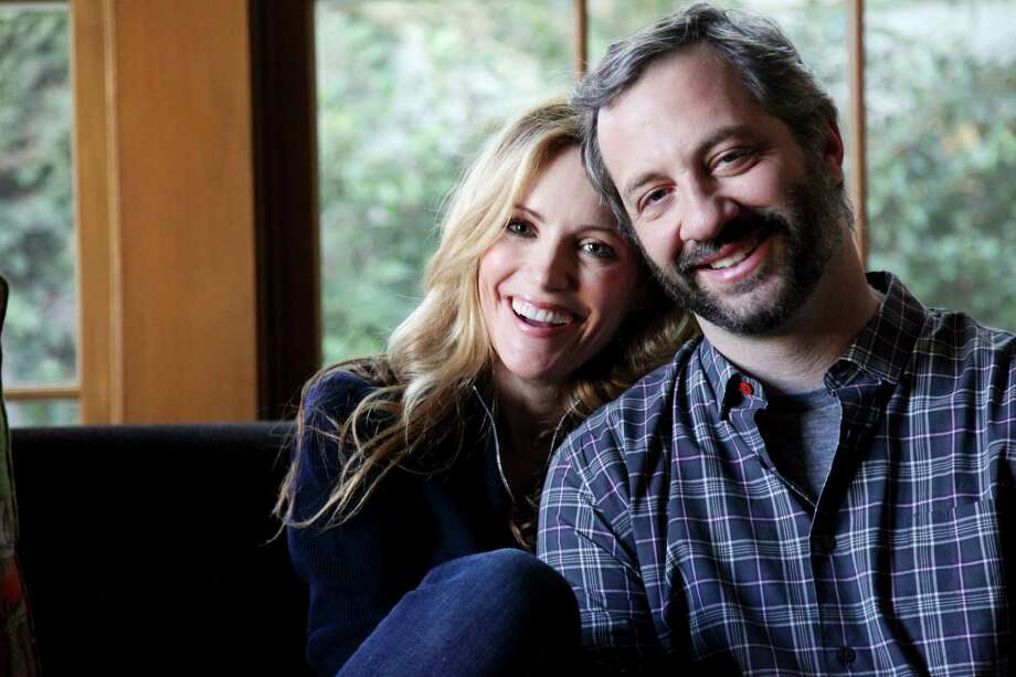 "Judd Apatow, the director of ""Knocked Up,"" with his wife, actress Leslie Mann, talk about ""This Is 40"" at their home in Los Angeles. Photo: AMY DICKERSON, New York Times / NYTNS"