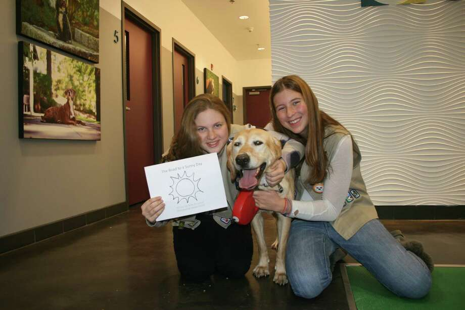 (left to right) Girl Scout Bridget Smith, Sunny and Girl Scout Riley Woodroof visit Animal Cancer Foundation in Norwalk, Conn. Photo: Contributed