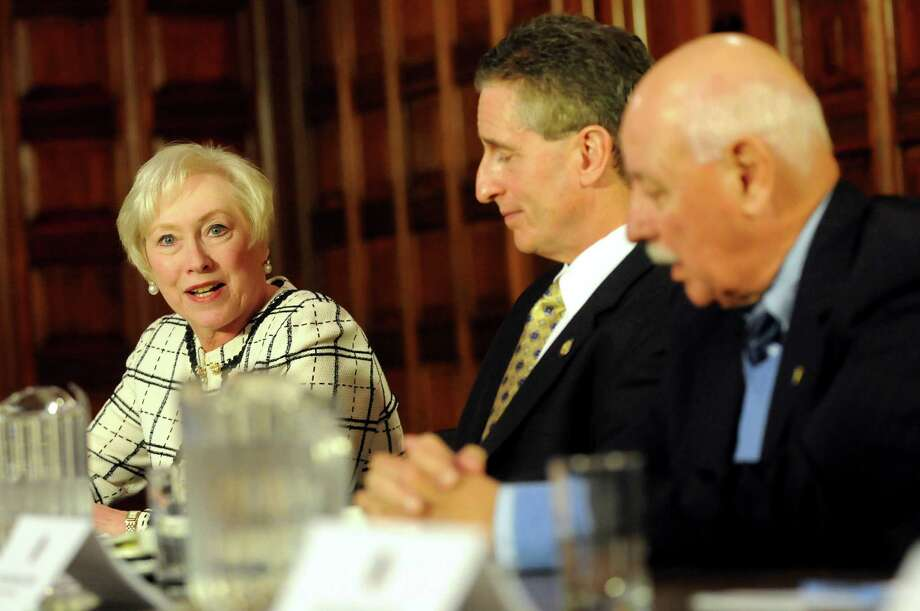SUNY Chancellor Nancy Zimpher, left, speaks during a Binghamton University presentation on NYSUNY2020 on Wednesday, April 25, 2012, at the Capitol in Albany, N.Y. (Cindy Schultz / Times Union) Photo: Cindy Schultz / 10017425A