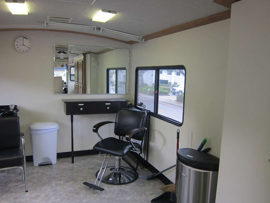 Inside a mobile salon, each recreational vehicle has been gutted and retrofitted. (photo: Riva Gold/Peninsula Press.) (Riva Gold/Peninsula Press)