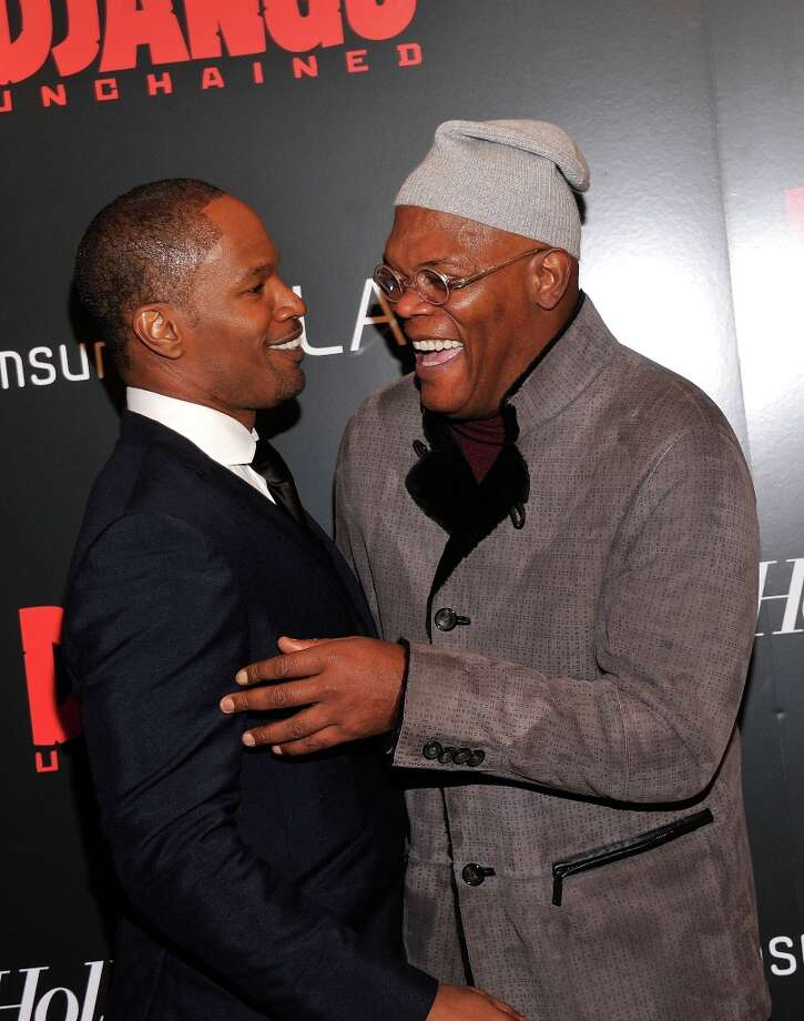 Jamie Foxx and  Samuel L. Jackson attend a screening of Django Unchained hosted by The Weinstein Company with The Hollywood Reporter, Samsung Galaxy and The Cinema Society at Ziegfeld Theater on December 11, 2012 in New York City.  (Photo by Stephen Lovekin/Getty Images) Photo: Stephen Lovekin, Getty Images / 2012 Getty Images