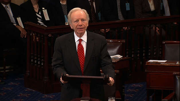 In this still image from Senate TV, retiring Sen. Joe Lieberman, I-Ct., speaks on the floor of the U.S. Senate at the Capitol in Washington, Wednesday, Dec. 12, 2012. Lieberman used his final Senate floor speech to urge Congress to put partisan rancor aside to break Washington's gridlock. Photo: (AP Photo/Senate TV) / Associated Press