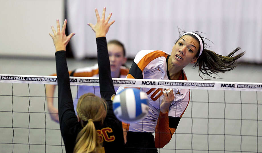 Outside hitter Haley Eckerman (10) is a big reason Texas could claim a national title this weekend. Photo: Rodolfo Gonzalez, AP Photo/Statesman.com / Austin American-Statesman