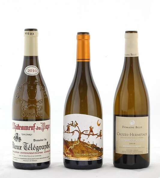 Left-right: 2010 Domaine du Dieux Telegraphe Chateauneuf-du-Pape, 2011 Nostre Pais Costieres de Nime