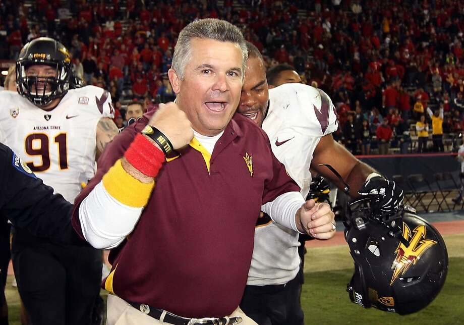 TUCSON, AZ - NOVEMBER 23:  Head coach Todd Graham of the Arizona State Sun Devils celebrates after defeating the Arizona Wildcats 41-34 in the college football game at Arizona Stadium on November 23, 2012 in Tucson, Arizona.  (Photo by Christian Petersen/Getty Images) Photo: Christian Petersen, Getty Images