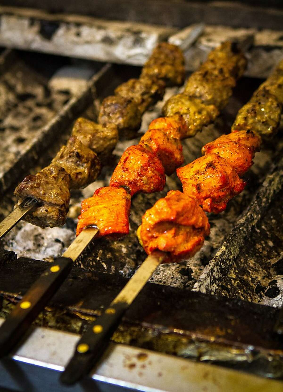 Kabobs being grilled at De Afghanan restaurant in Livermore, Calif., on Thursday, December 6th, 2012.