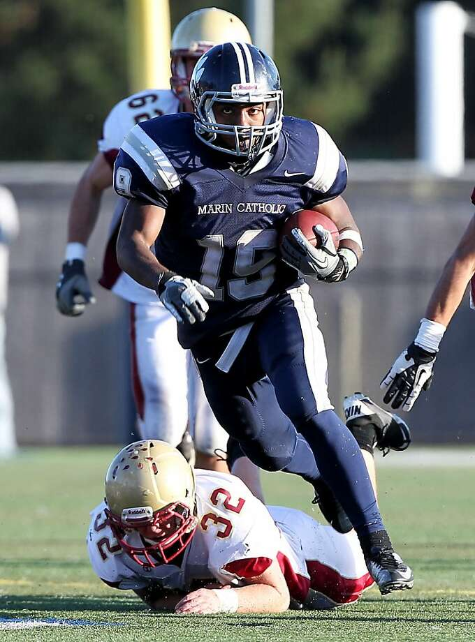 Akili Terry has run for a team-high 1,726 yards and 26 touchdowns for Marin Catholic. Photo: Dennis Lee, MaxPreps.com