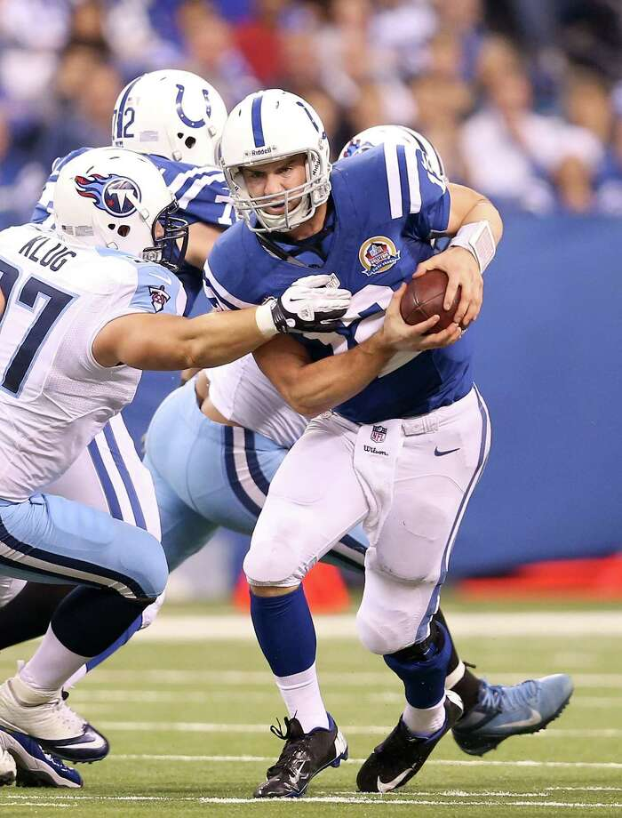 INDIANAPOLIS, IN - DECEMBER 09:  Andrew Luck #12 of the Indianapolis Colts runs with the ball during the NFL game against the Tennessee Titans at Lucas Oil Stadium on December 9, 2012 in Indianapolis, Indiana. Photo: Andy Lyons, Getty Images / 2012 Getty Images