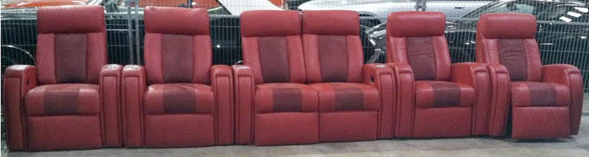 Six red leather entertainment theater chairs