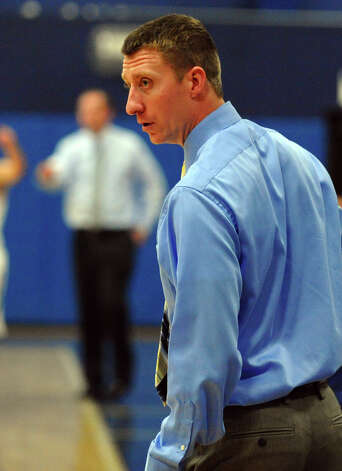 Brien McMahon Head Coach Ken Dustin, during boys basketball action in Westport, Conn. on Wednesday December 12, 2012. Photo: Christian Abraham / Connecticut Post