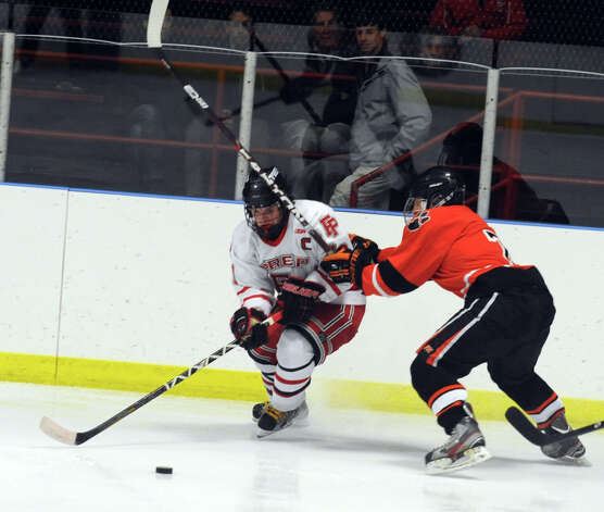 Fairfield Prep hockey versus Ridgefield High School Wednesday, Dec. 12, 2012 at Wonderland of Ice in Bridgeport, Conn. Photo: Autumn Driscoll / Connecticut Post