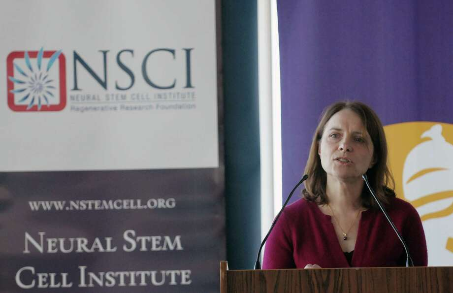 Dr. Sally Temple, co-founder and scientific director of the Neural Stem Cell Institute  takes part in a press conference on Tuesday, Dec. 12, 2012 at the Neural Stem Cell Institute in Rensselaer, NY.  The press conference was held to talk about a recommended multi-million dollar grant from the State of New York to be used for research on retinal disease.  (Paul Buckowski / Times Union) Photo: Paul Buckowski