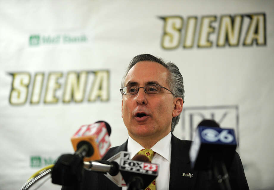 Siena Athletic Director John D'Argenio addressed questions regarding the departing Men's basketball coach Fran McCaffery and what they are looking for in his replacement at a press briefing at Siena College in Loudonville, New York March 29, 2010.        (Skip Dickstein/Times Union) Photo: Skip Dickstein / 2008