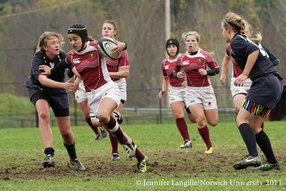 Joya Clark, a Scotia-Glenville graduate, recently earned a MVP award and a national title with the Norwich University women's rugby team. (Jennifer Langille) Photo: Jennifer Langille / Jennifer Langille Photography 2011