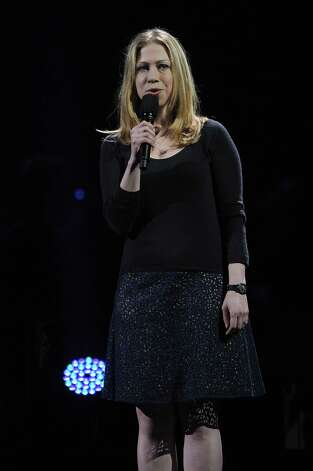 "NEW YORK, NY - DECEMBER 12: Chelsea Clinton speaks at ""12-12-12"" a concert benefiting The Robin Hood Relief Fund to aid the victims of Hurricane Sandy presented by Clear Channel Media & Entertainment, The Madison Square Garden Company and The Weinstein Company at Madison Square Garden on December 12, 2012 in New York City.  (Photo by Larry Busacca/Getty Images for Clear Channel) Photo: Larry Busacca, Getty Images / Getty Images"