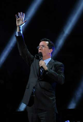 "NEW YORK, NY - DECEMBER 12: Stephen Colbert  performs at ""12-12-12"" a concert benefiting The Robin Hood Relief Fund to aid the victims of Hurricane Sandy presented by Clear Channel Media & Entertainment, The Madison Square Garden Company and The Weinstein Company at Madison Square Garden on December 12, 2012 in New York City.  (Photo by Larry Busacca/Getty Images for Clear Channel) Photo: Larry Busacca, Getty Images / Getty Images"