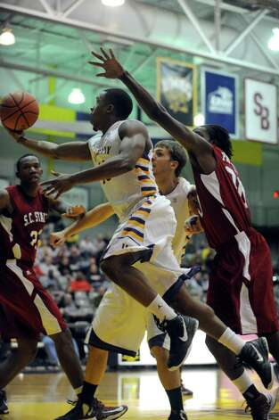UAlbany's Mike Black goes to the basket during their game against S.C. State at the SEFCU Arena in Albany , NY Wednesday Dec. 12, 2012. (Michael P. Farrell/Times Union) Photo: Michael P. Farrell