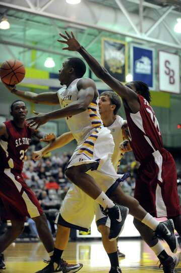 UAlbany's Mike Black goes to the basket during their game against S.C. State at the SEFCU Arena in A