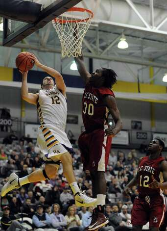 UAlbany's Peter Hooley goes to the basket during their game against S.C. State at the SEFCU Arena in Albany , NY Wednesday Dec. 12, 2012. (Michael P. Farrell/Times Union) Photo: Michael P. Farrell