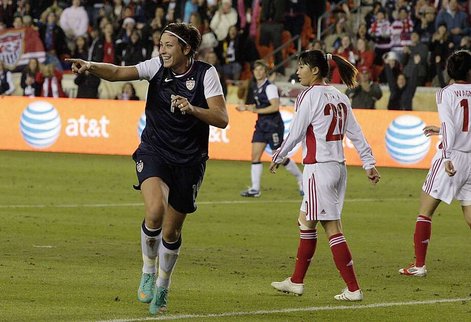 HOUSTON, TX - DECEMBER 12:  Abby Wambach #14 of the United States celebrates after scoring in the first half against China at BBVA Compass Stadium on December 12, 2012 in Houston, Texas.(Photo by Bob Levey/Getty Images) Photo: Bob Levey, Getty Images