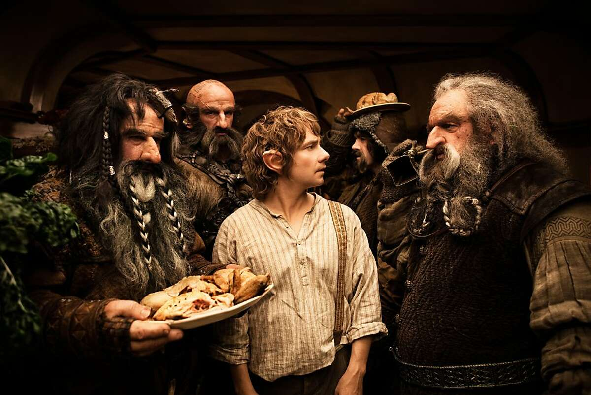 (L-r) WILLIAM KIRCHER as Bifur, GRAHAM McTAVISH as Dwalin, MARTIN FREEMAN as Bilbo Baggins, JAMES NESBITT as Bofur and JOHN CALLEN as Oin in the fantasy adventure �