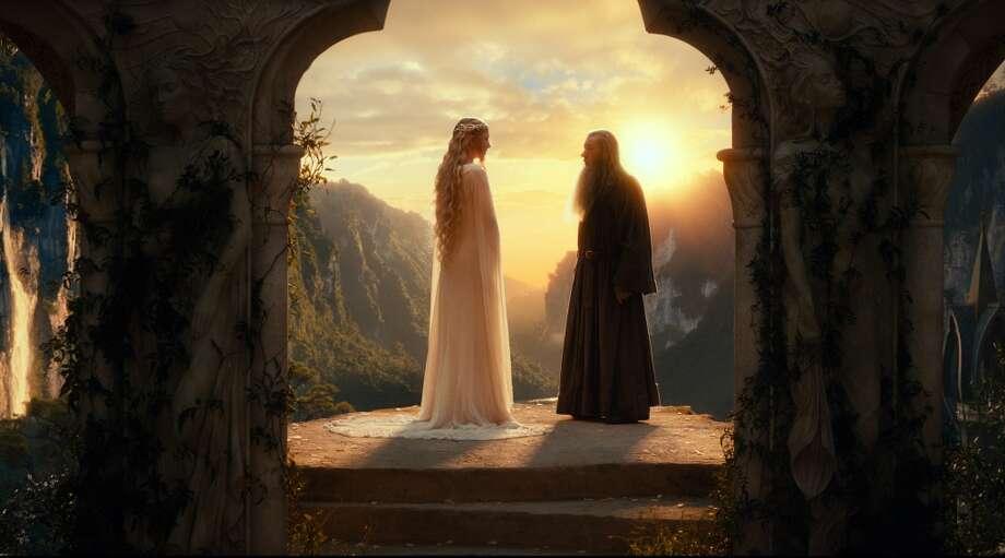 (L-r) CATE BLANCHETT as Galadriel and IAN McKELLEN as Gandalf.