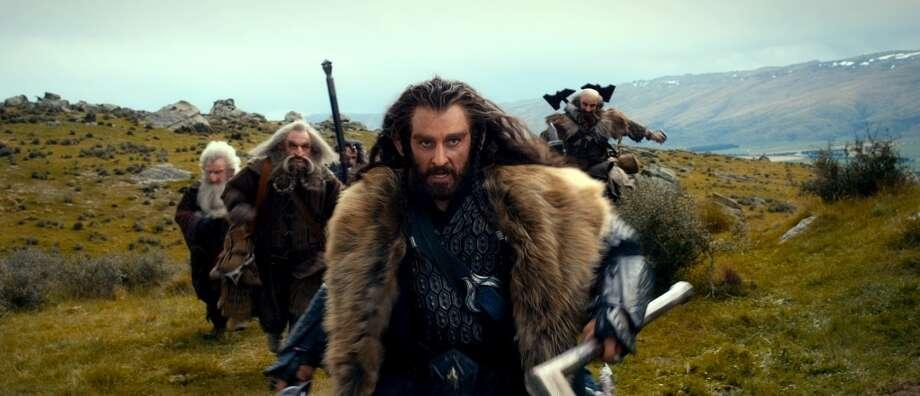 (L-r) Dwarves KEN STOTT as Balin, JOHN CALLEN as Oin, WILLIAM KIRCHER as Bifur, RICHARD ARMITAGE as Thorin Oakenshield (center) and GRAHAM McTAVISH as Dwalin.