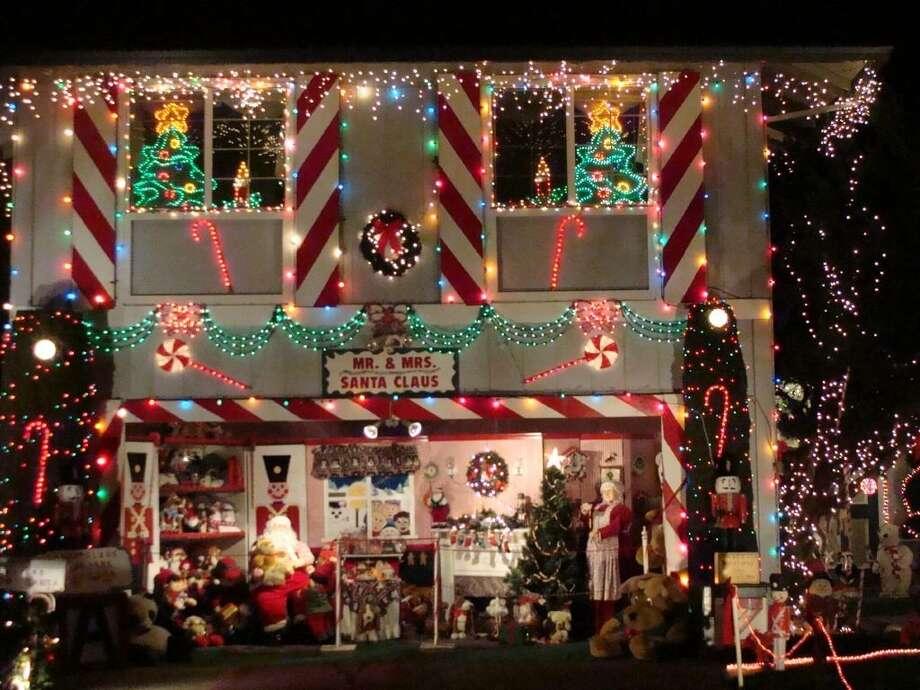 1074 Santa Clara Ln. Petaluma, Sonoma County, 94954Santa and Mrs. Claus greet children at this home on Santa Clara Lane in Petaluma every Saturday and Sunday from 6 pm to 10 pm. (Carol Ellis / lightsofthevalley.com)